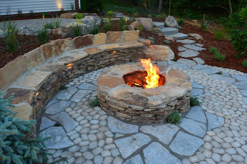 Fieldstone Patio Rustic With Natural Stone Fire Pit Tables