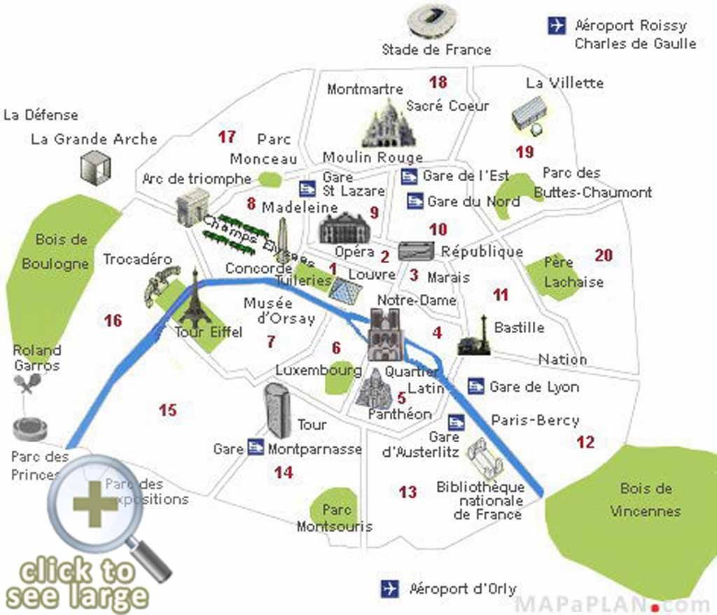 Paris Top Tourist Attractions Map Visitor Points Of Interest - Paris map sightseeing