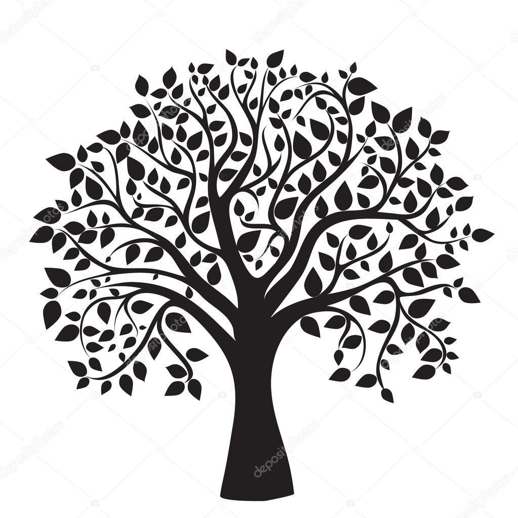 Herunterladen   Schwarz Baum Silhouette auf weißem ...