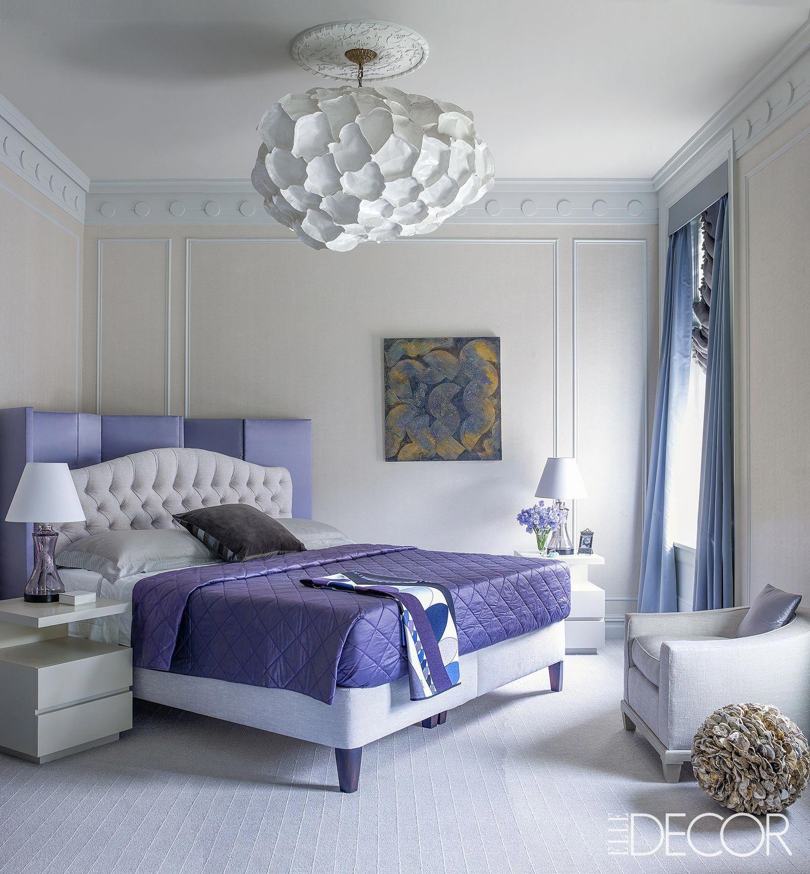 Love The Rich Purple Tones And The Giant Paper Pendant Lighting Fixture In The Interior Design For Thi Bedroom Interior Elegant Bedroom Modern Bedroom Lighting