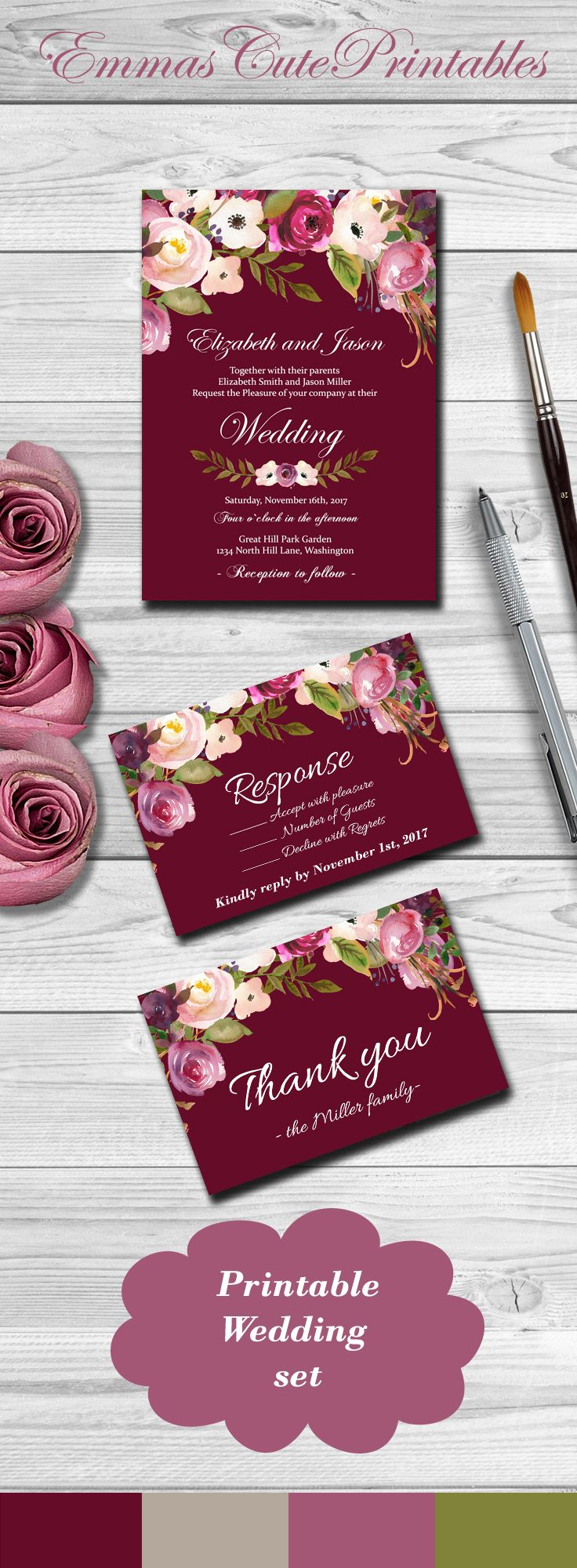 Marsala Wedding Invitation, Watercolor Floral wedding invitation set ...