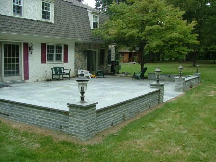 bluestone patio ideas bluestone patio with natural stone wall we have this exact wall so this - Bluestone Patio Ideas