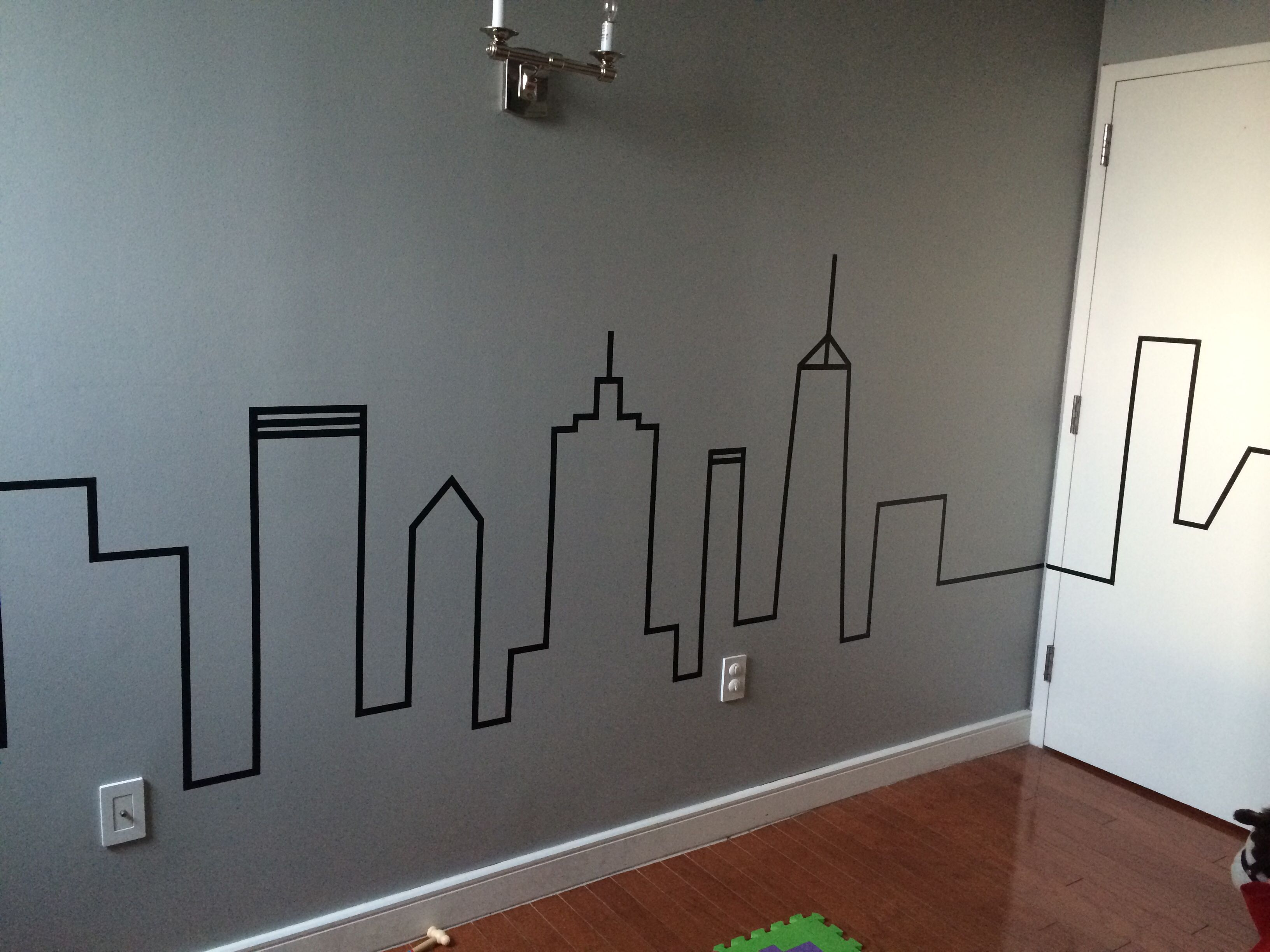 The Finished Product! My Modern Baby/toddler Bedroom! Washi Tape Skyline. City  Themed Bedroom. Modern Boys Bedroom. DIY Boys Bedroom. NYC Bedroom.