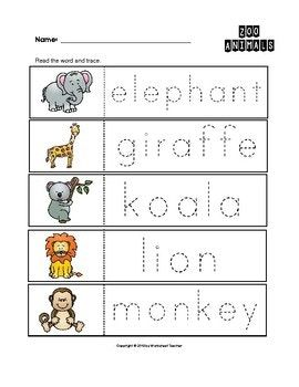 zoo animals trace the words worksheets preschool kindergarten animals animal worksheets zoo. Black Bedroom Furniture Sets. Home Design Ideas