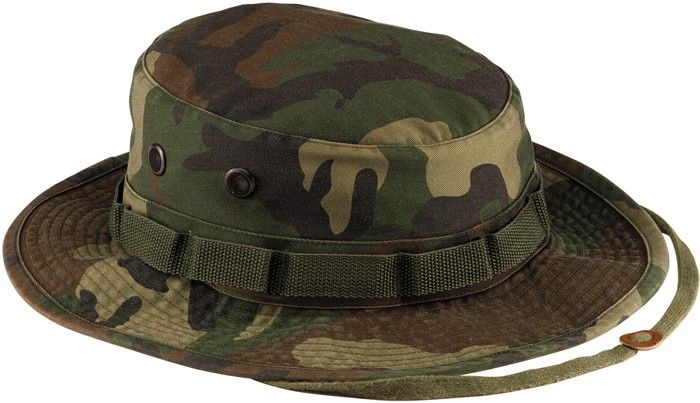 Woodland Camouflage Vintage Military Tactical Wide Brim Boonie Hat ... e62c0c186b1