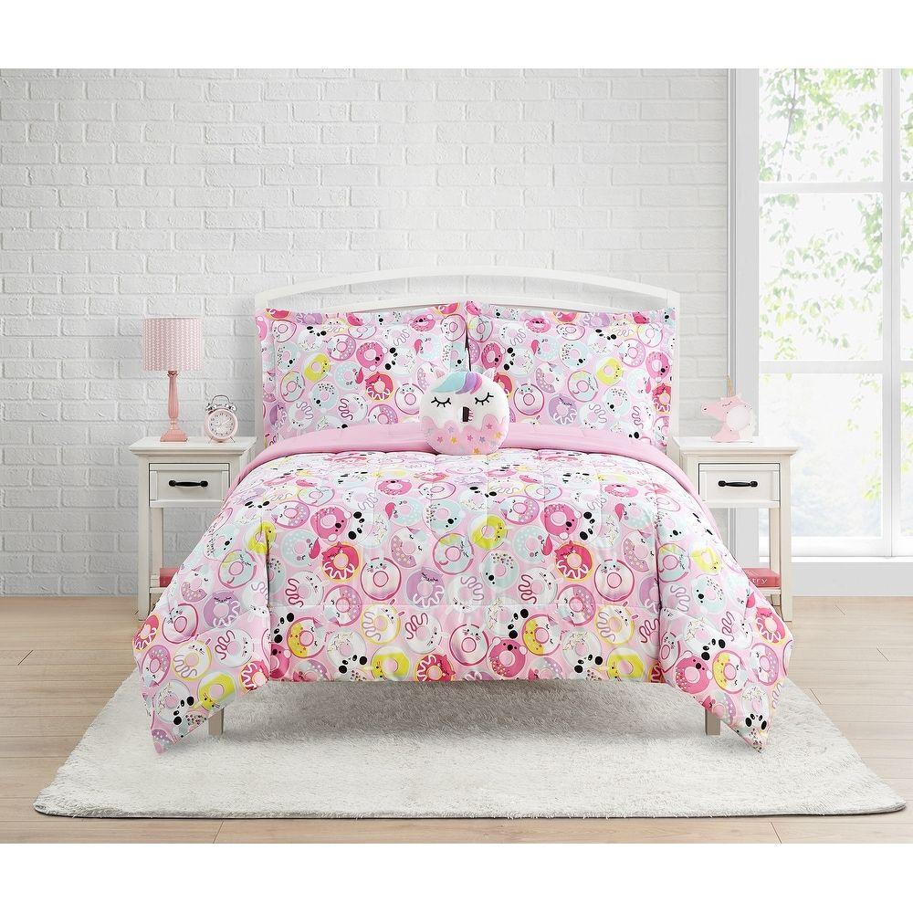 Donut Critters 4-Piece Comforter Set Featuring Unicorn Donut Decorative Pillow (Pink - Full)