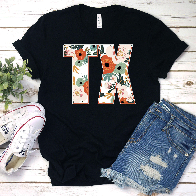 Texas Texas Design Texas Tee Texas Shirt Texas Floral Shirt Ladies Texas Shirt Womens Texas Shirt