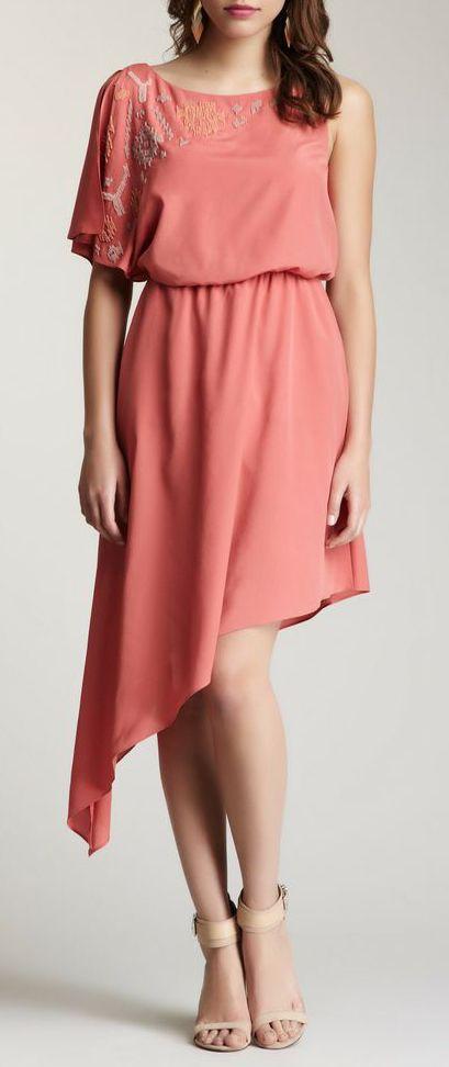 Jessica Simpson Single Sleeve Beaded Bodice Dress
