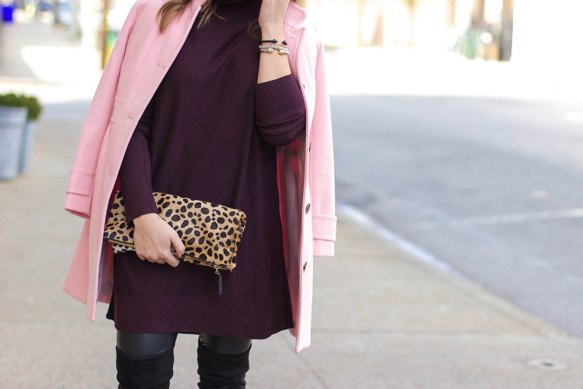 pink & plum: Clare V. leopard clutch, over the knee boots, leather leggings