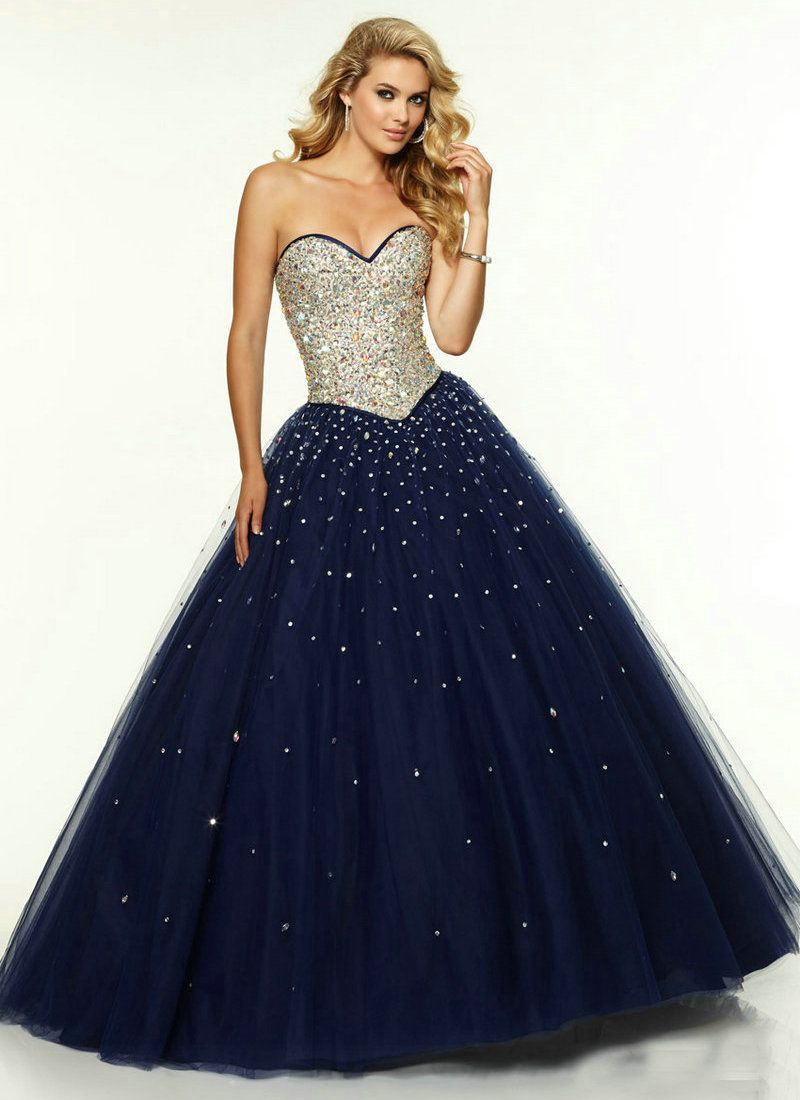 Long Navy Blue Prom Dress Tulle 2015 Long Corset Ball Gown Prom ...