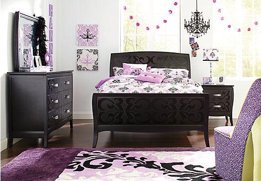 picture of belle noir full merlot 5pc panel bedroom from teen