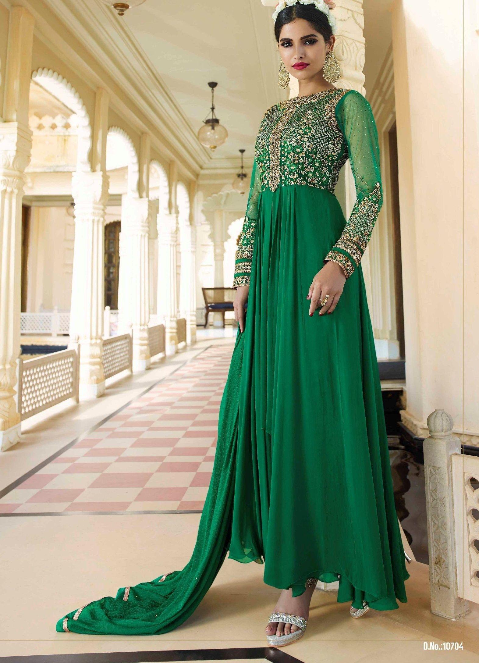 The Ria La Belleza Dress In Bottle Green Colour