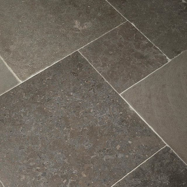 We Are Very Into The Bold Dark Design Choice Of Nova Blue Limestone In A Versailles Pattern For Floor