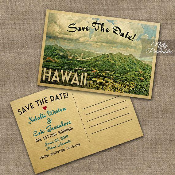 Hawaii Save The Date Postcards - Printable Hawaiian Save The Date - wedding postcard