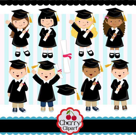 Art Girls Virtual Preschool: Graduation Boys And Girls Digital Clip Art Set (Black