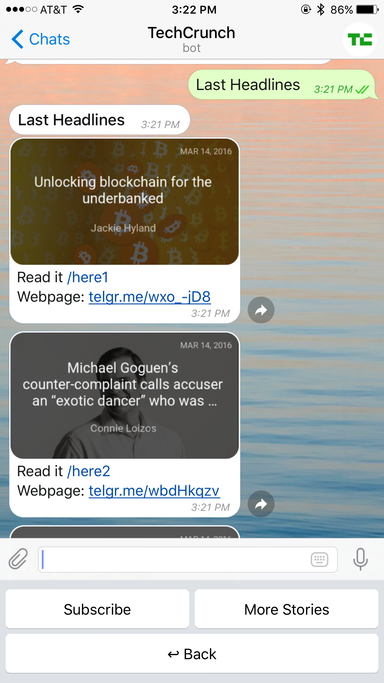 We Re Excited To Announce The Launch Of Our First Artificial Intelligence Powered News Bot On The Encrypted Messaging Platform Telegra Chatbot Power Techcrunch