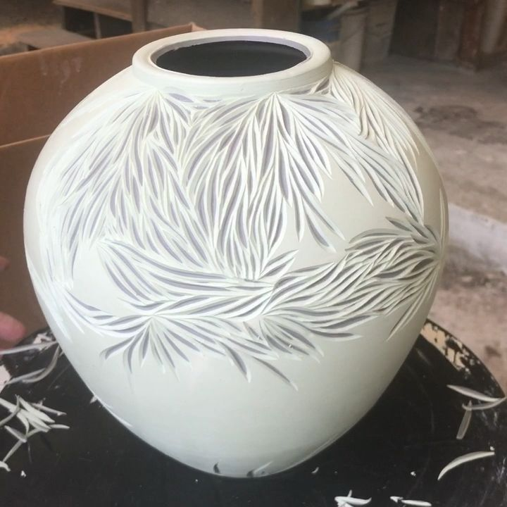 Carving layered porcelain vase