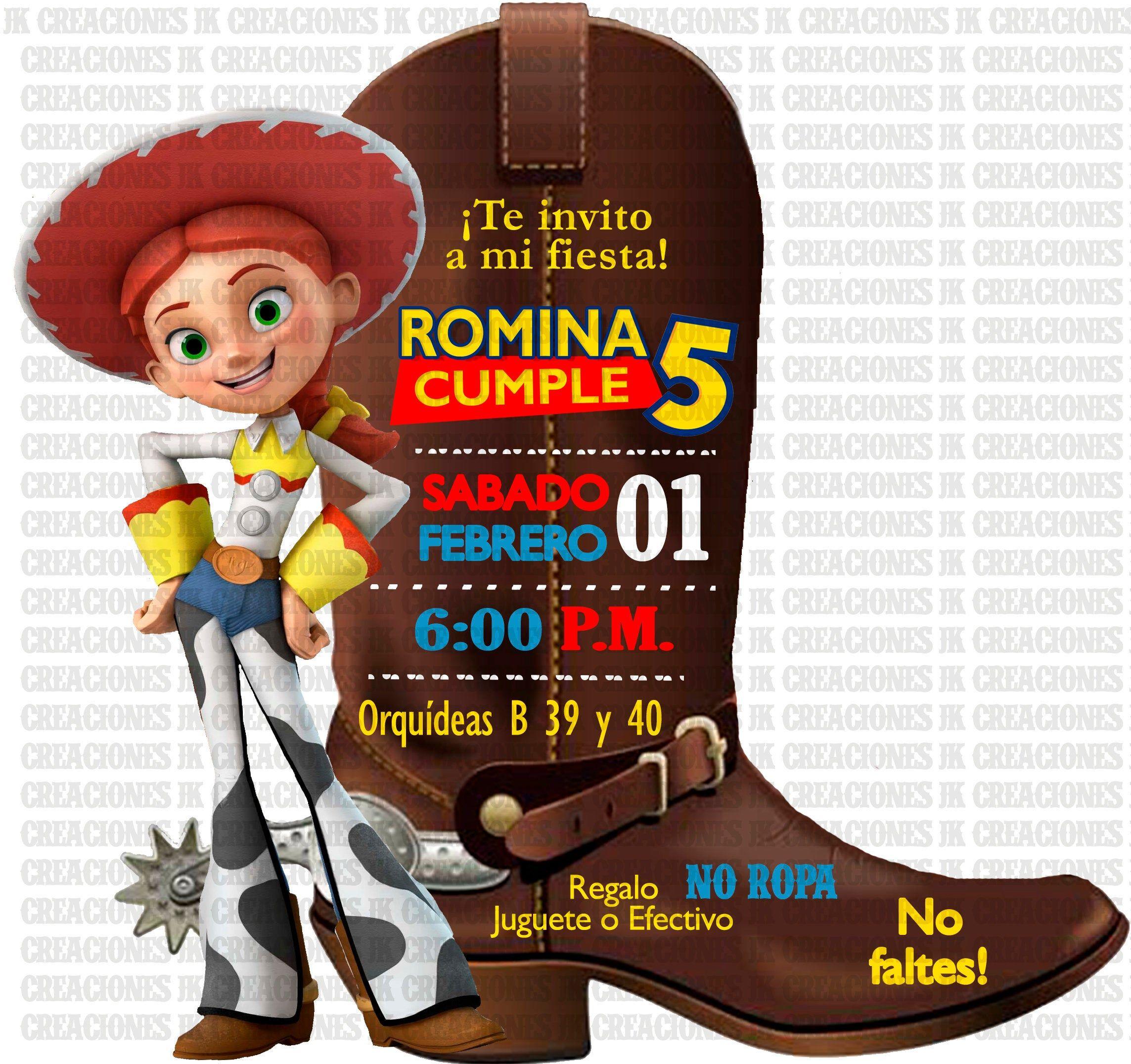 invitacion bota jessi la vaquerita, toy #story, SAME DAY en 2020 ...