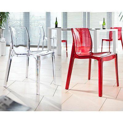 Stuhl Designstuhl Esszimmerstuhl Sari transparent 2 Farben Kunststoff modern NEU