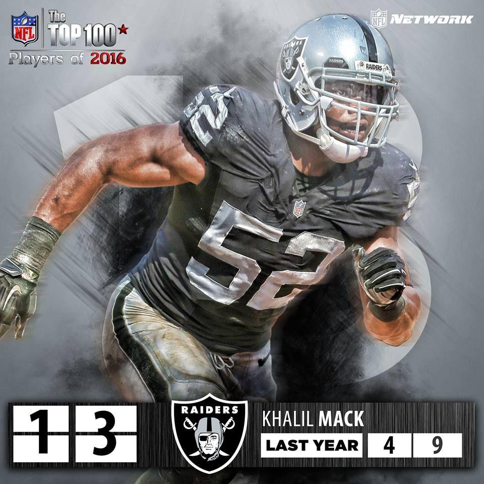 Khalil Mack 13 Top 100 Players Of 2016 Oakland Raiders Nfl History Nfl