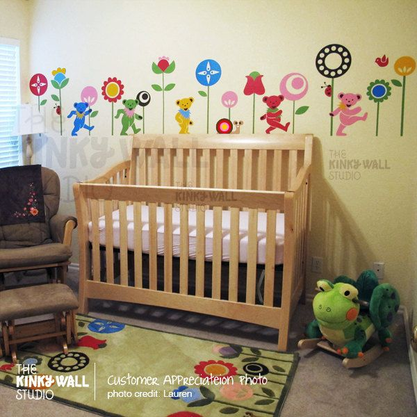 Children Wall Decal Wall Sticker tree decal animal decal - Marching Bears with Flowers Snail Ladybug