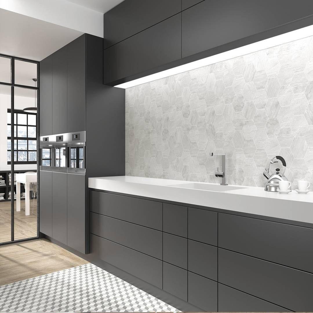 Check Out Our New Hexagon Verona White And Hexagon Verona Grey 13 9 X 16 Cm Tile From Equipeceramic Grey Kitchen Wall Tiles Grey Wall Tiles Kitchen Wall Tiles