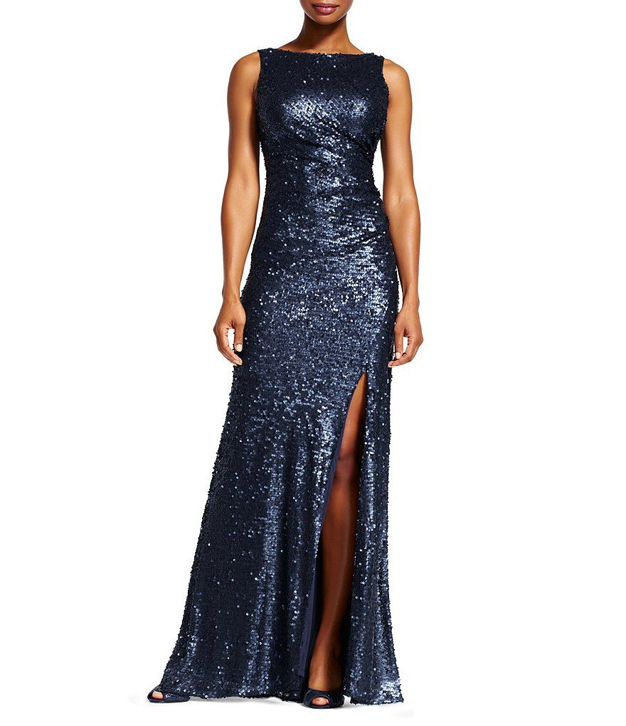 Adrianna papell sleeveless sequin mermaid gown prom pinterest
