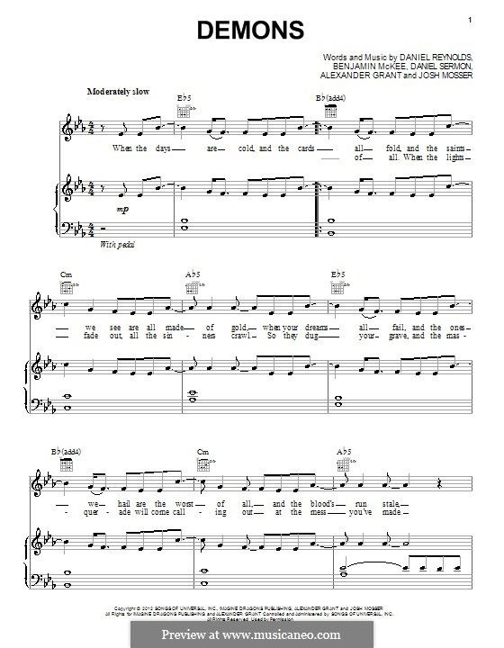 Demons Imagine Dragons Piano Sheet Music Easy Piano Songs