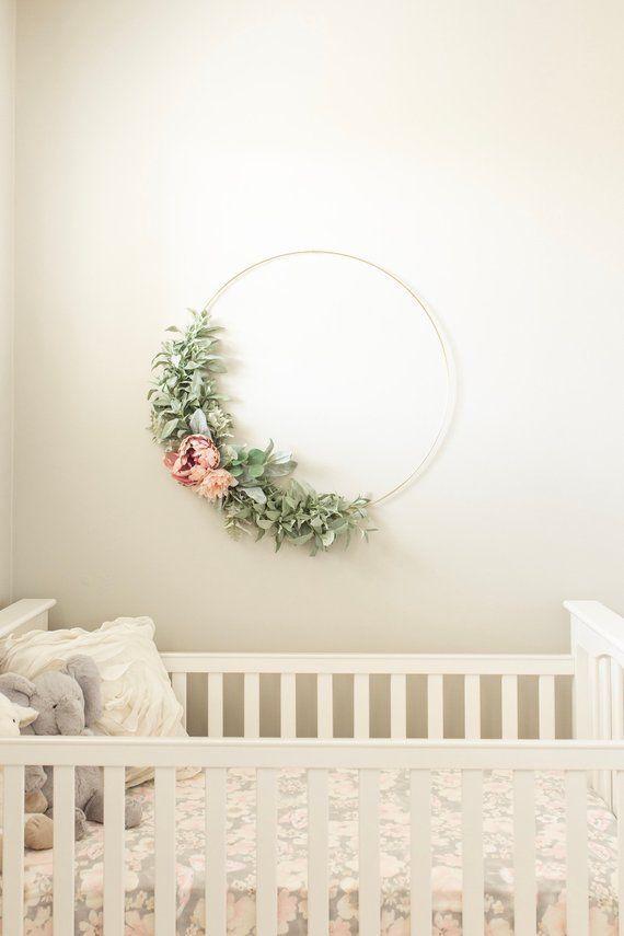 Photo of Floral Gold Hoop Wreath, Gold Metal Ring Wreath, Wedding Decor, Nursery, Flower Hoop, Blush Peony, X