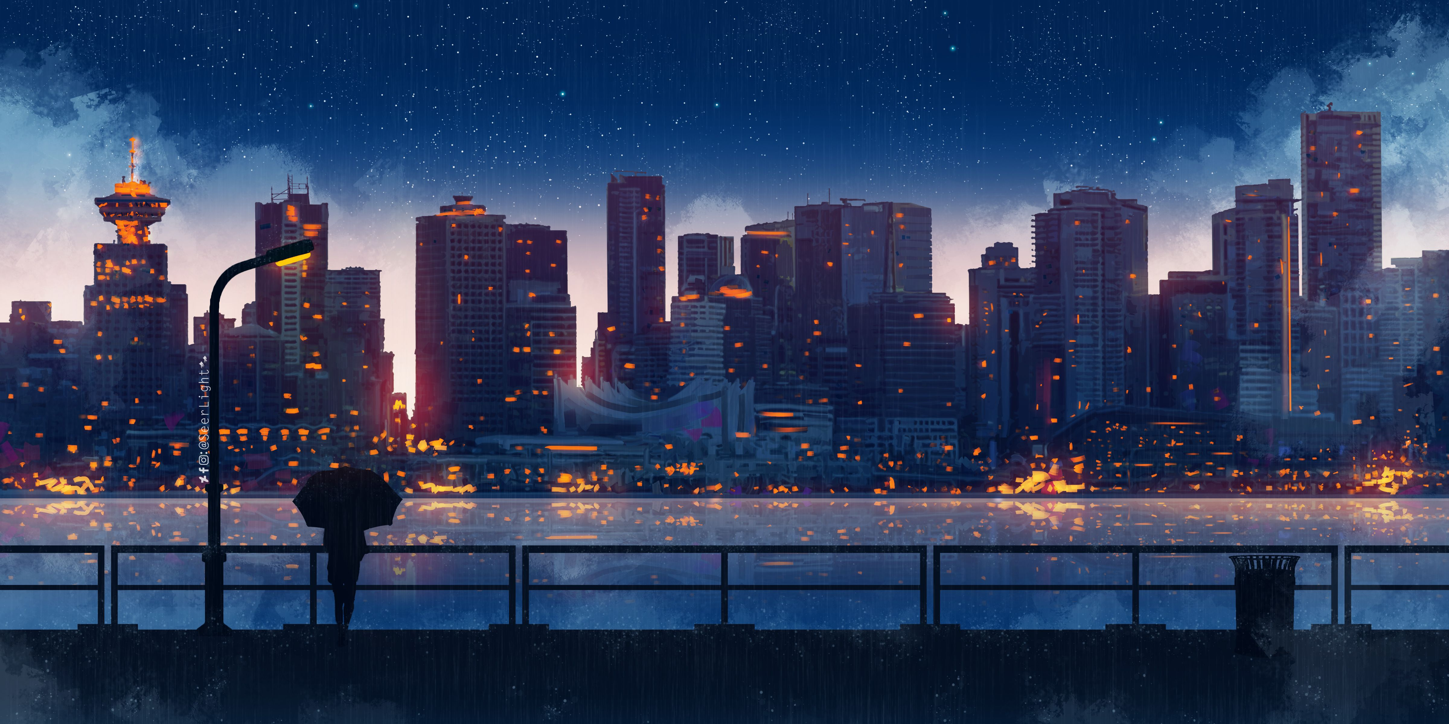 Aesthetic anime theme illustration of a boy and girl. Anime 4800x2400 anime city building women umbrella night ...