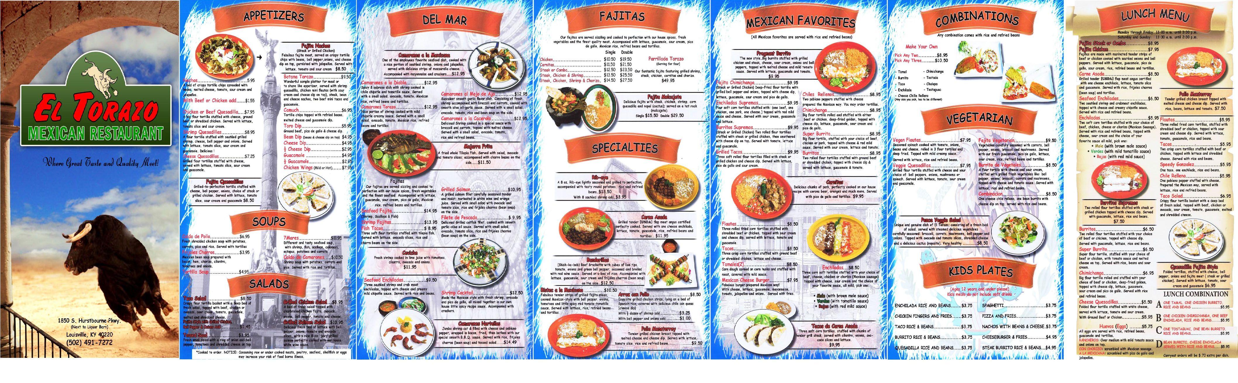 El Torazo Mexican Restaurant Louisville KY Menu