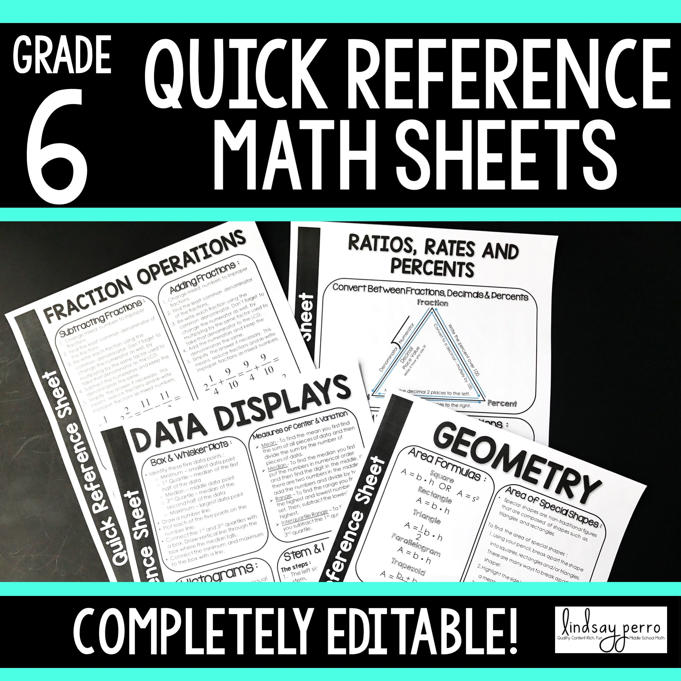 6th Grade Math Quick Reference Sheets | Math skills, Homework and Math