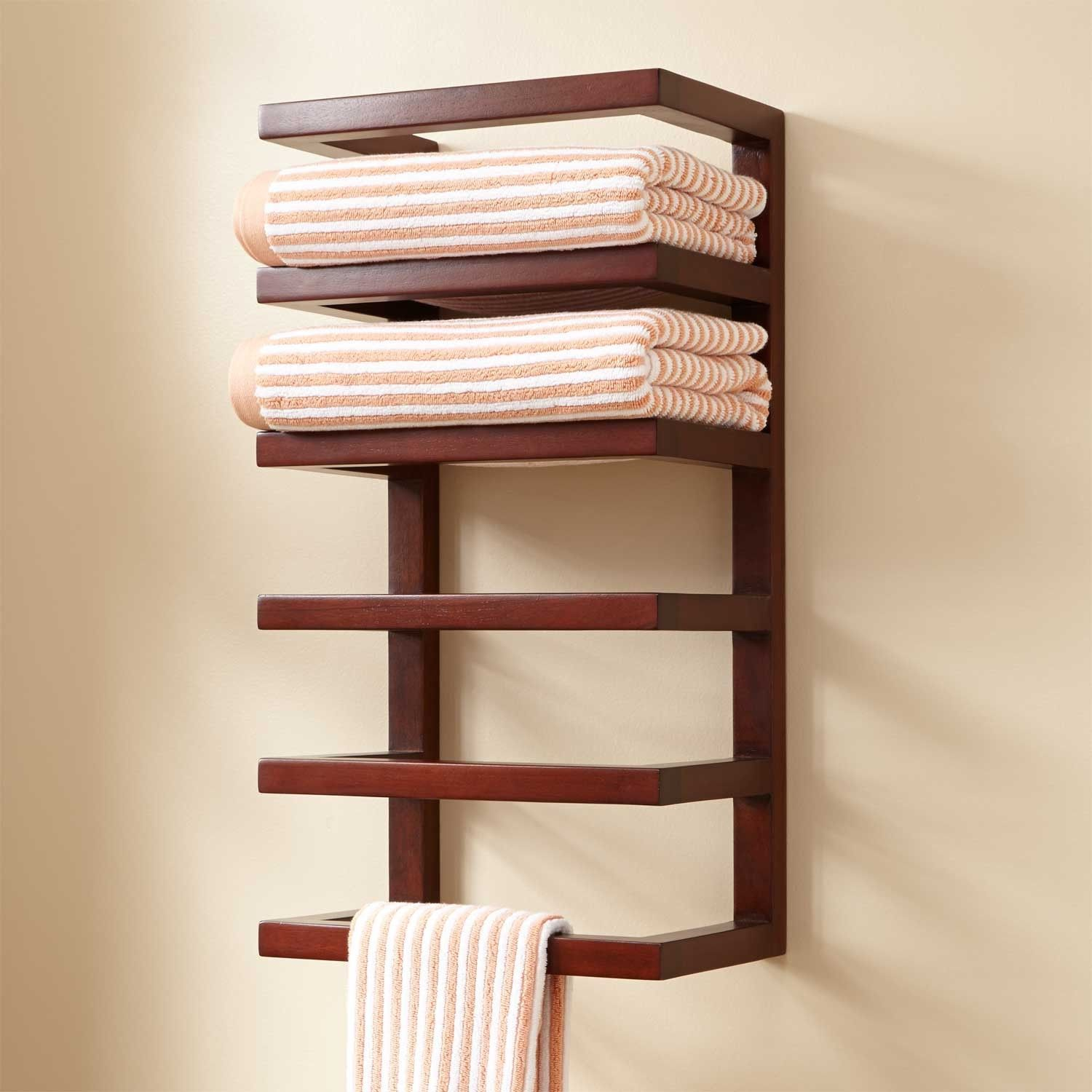 Mahogany hanging towel rack towel holders bathroom for Bathroom towel storage