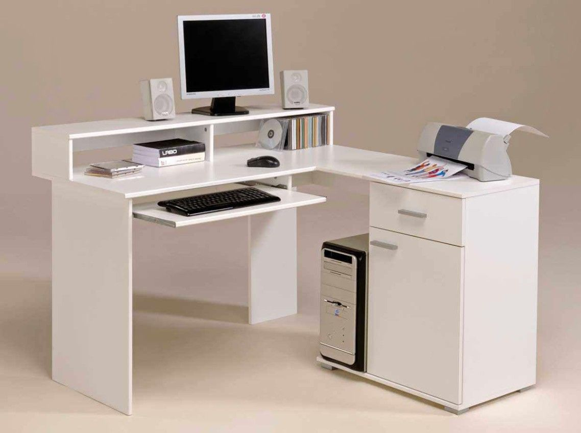 Small White Wooden Computer Desk With Monitor Stand And Pull Out