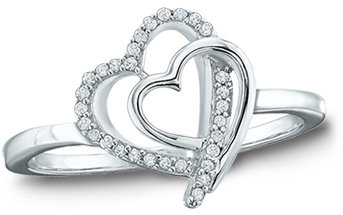 Zales Com Ring Diamond Accent Double Tilted Heart