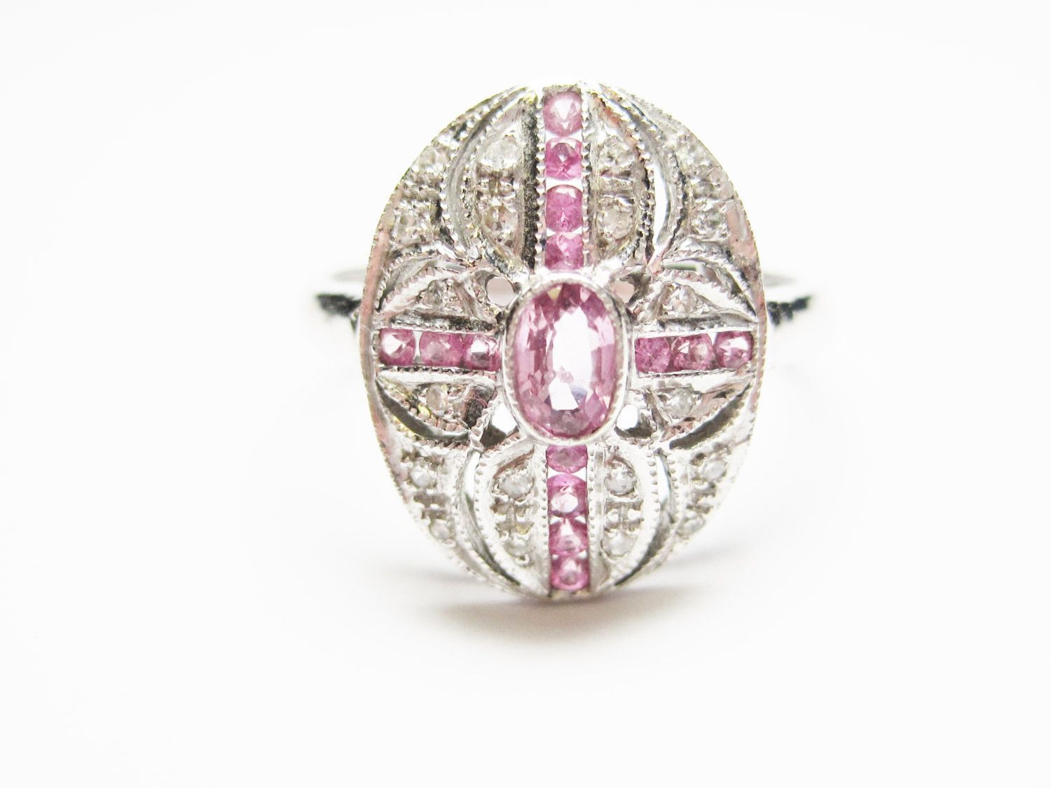 14K White Gold 1.1 Carat Pink Sapphire and Diamond Ring Size 7