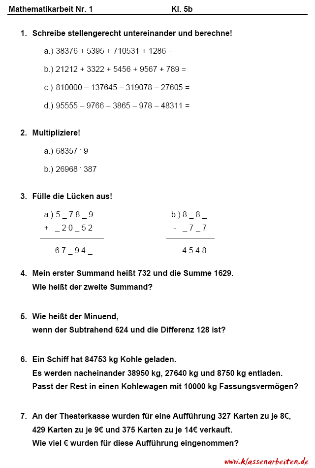Awesome 7Klasse Mathe Arbeitsblatt Online Ideas - Kindergarten ...