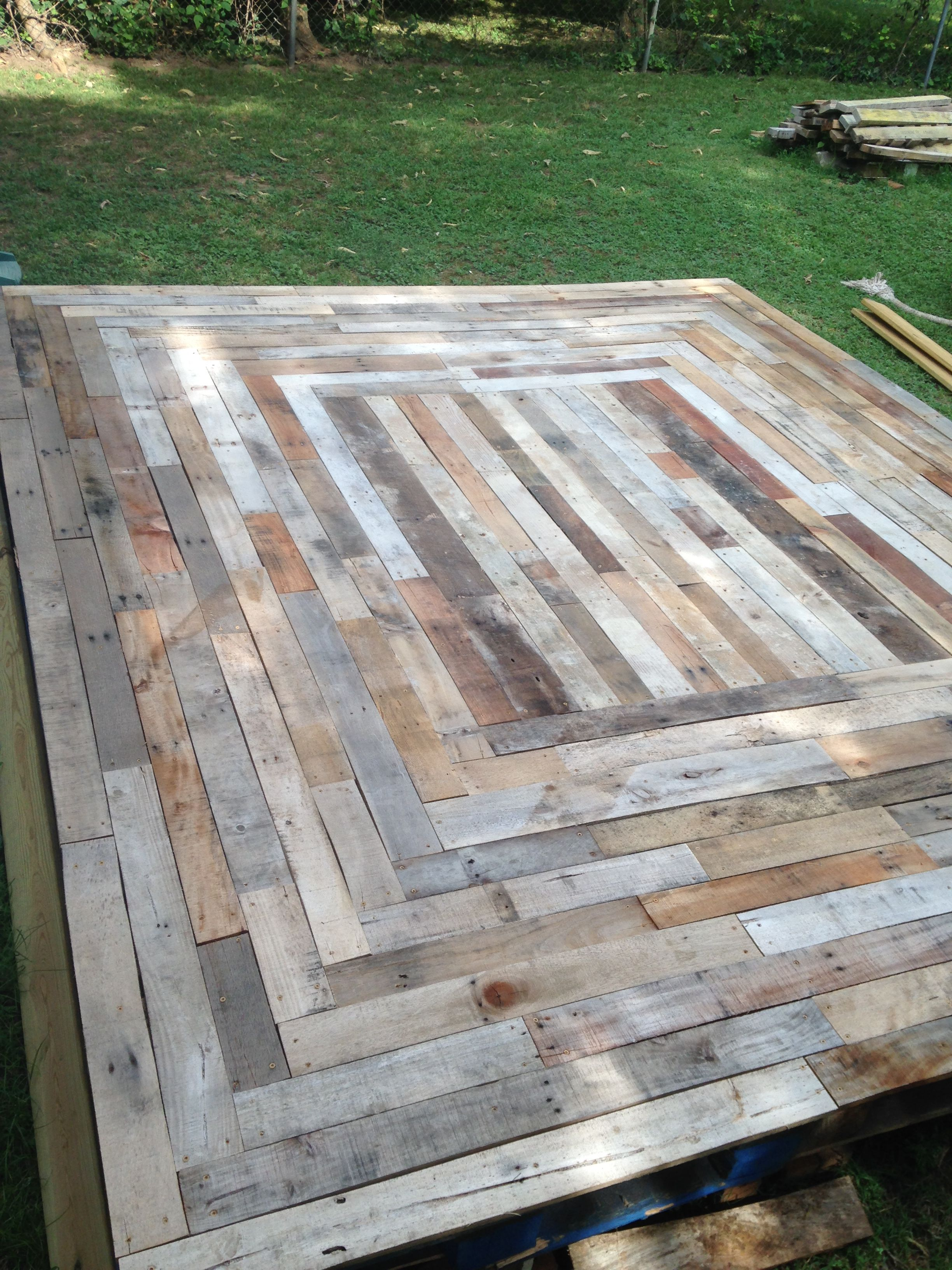 Floating Deck Made From Reclaimed Pallet Wood From Home Remedies