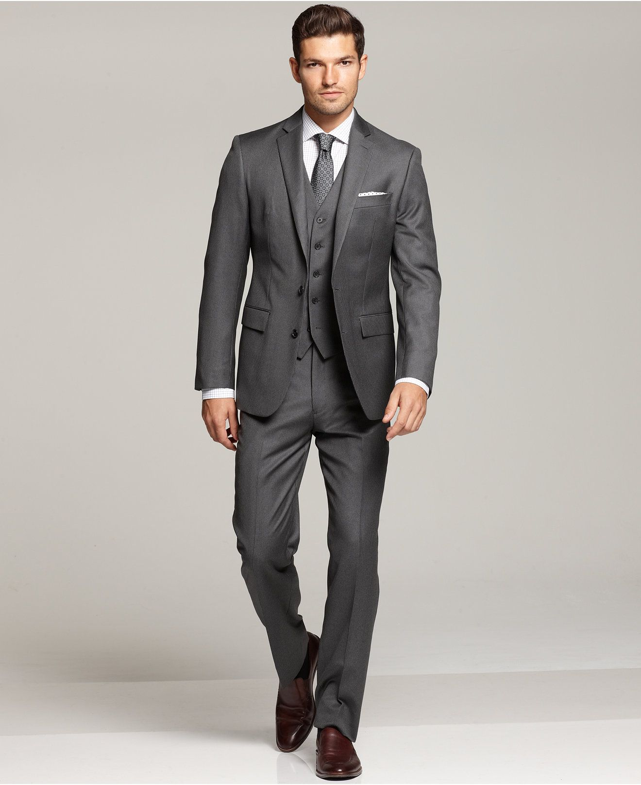 Kenneth Cole Reaction Grey Stripe Vested Slim-Fit Suit - Shop All ...