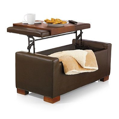 Davis Lift Top Storage Ottoman In Chocolate Home