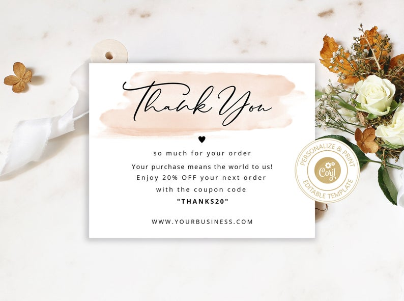 thank you for your order card template for small business