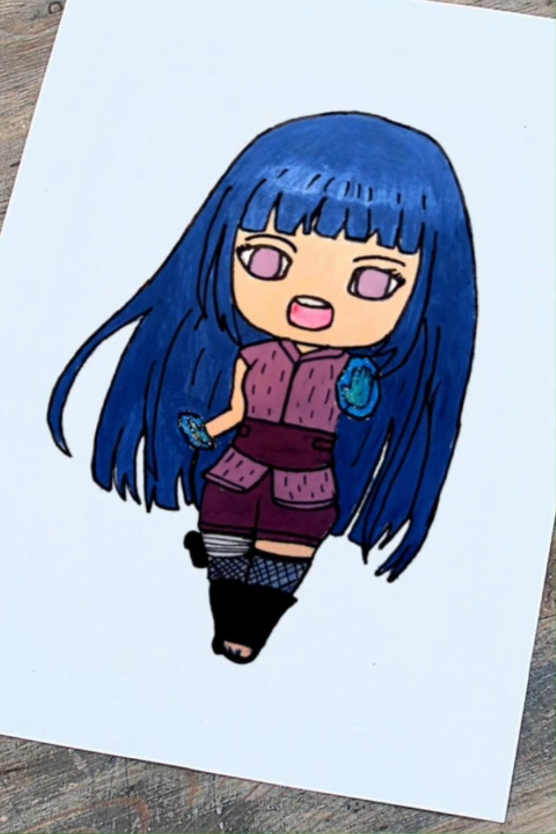Drawing Hinata Hyuga from Naruto in my style | Hinata Hyuga chibi drawing | Anime Art Aesthetic