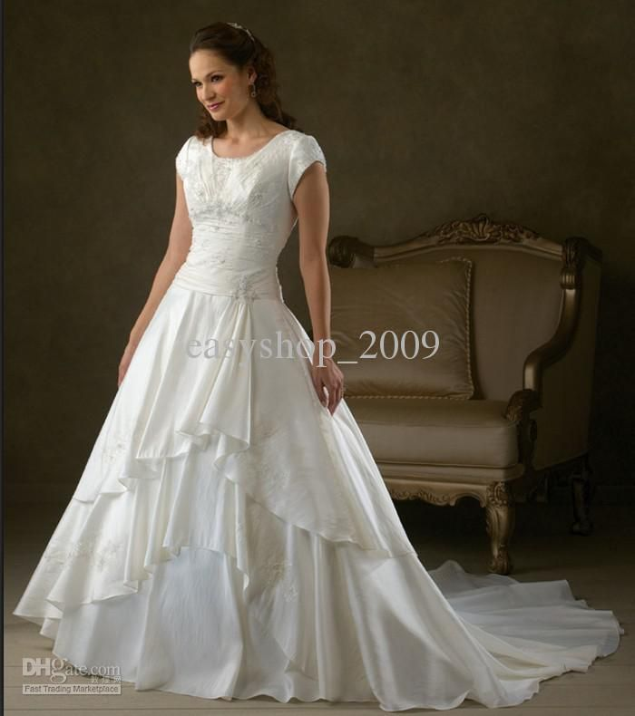 Modest Wedding Dresses With Sleeves: Wholesale Modest Short Sleeves Bridal Wedding Gown Bride