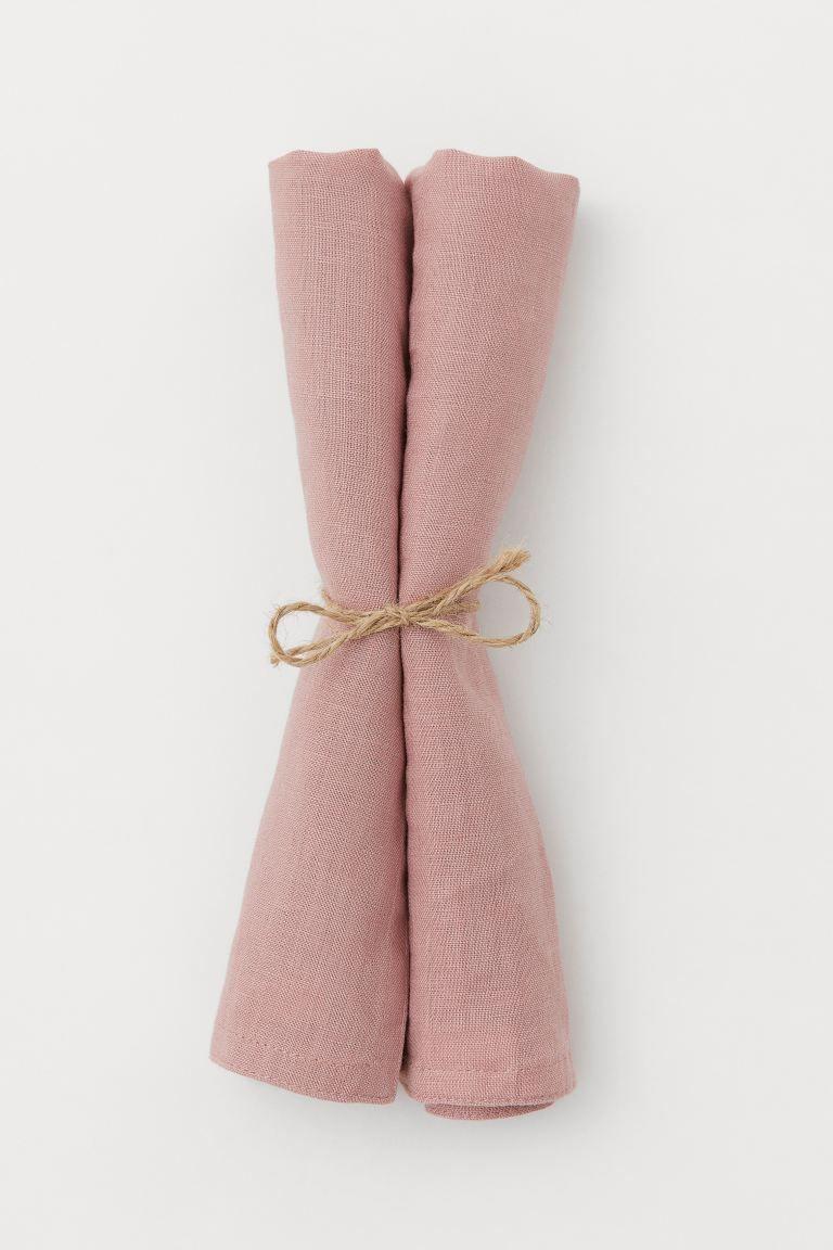 Serviettes en lin, lot de 2 – Vieux rose – Accueil Tous | H&M FR   – Déco