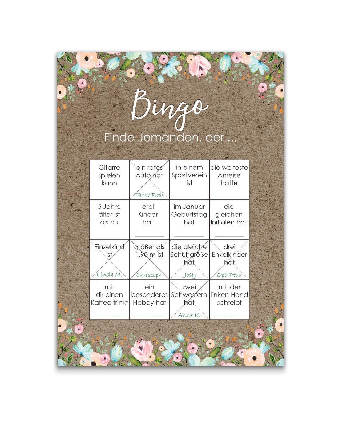 50 Bingokarte Hochzeit Hochzeitsbingo Spiel Wedding Game Wedding Bingo Wedding Games Wedding Planning Checklist Printable