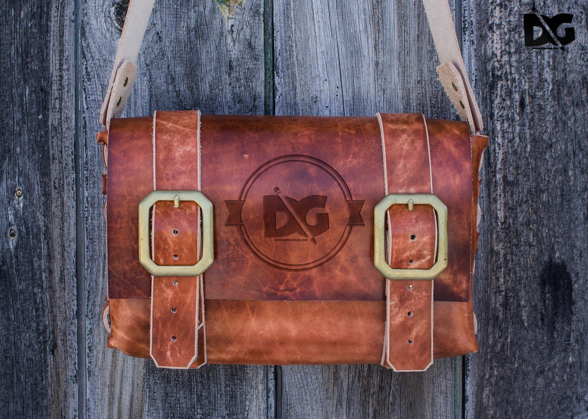 Download Vintage Leather Bag Logo Mockup Logo Mockup Free Logo Mockup Vintage Leather Bag