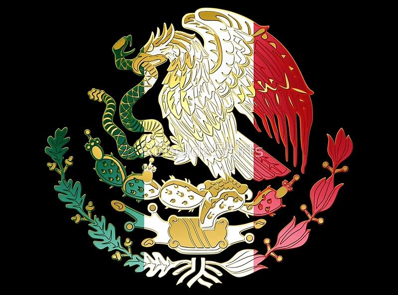Mexican coat of arms. Features a green, white, red, and