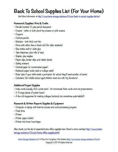 Printable Office Supply List Free Printable Back To School Supplies List What To Stock At Home .