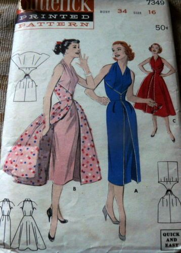 Lovely Vtg 1950s Wrap Around Butterick Dress Sewing Pattern 16 34 | eBay -- good idea for alteration to the similar reprinted butterick pattern