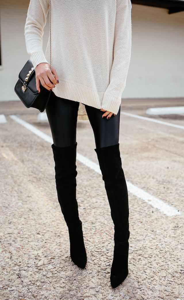 4e8c85a6ed Thigh High Boots Suede, Black Knee High Boots Outfit, Black Over Knee Boots,